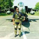 Wing Commander Ravi Khanna with his Jaguar aircraft