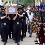 Army officers carry the mortal remains of slain Nagrota martyr Major Akshay Girish Kumar for his last procession in Bengaluru