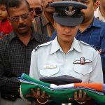 Flt Lt Deepika serrao wife of Lt Ronald Kevin Serrao accepting his belongings