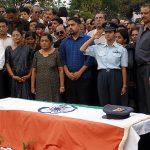 Flt Lt Deepika serrao wife of Lt Ronald Kevin Serrao pays her last respects