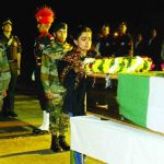 Maj Praful Moharkar's wife pays her last respects to her husband