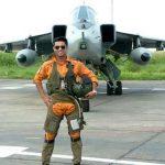 Flt Lt Ronald Serrao with his bird in G suit