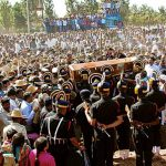 The funeral procession of Sepoy Sandeep Kumar at his village Devihalli in Hassan