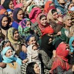 People paying their respects to Lance Naik Ghulam Mohi ud din Rather during his last journey in Panjpora village of Bijbehara district of J & K