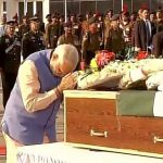 PM Modi paying tribute to Major Satish Dahiya