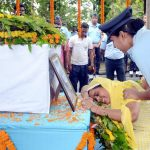 Mother of Flt Lt Pramod Kumar Singh, Mrs Pushpa paying her last respects