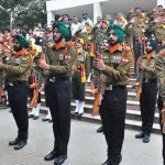 Jawans of 5 Sikh LI give the last salute to their erstwhile CO Brig Sant Singh